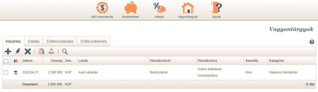 Vagyontárgy tranzakciók listázása