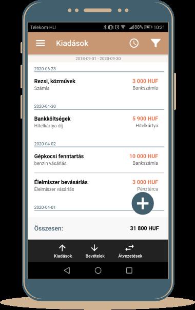 költségnyilvántartó mobil app